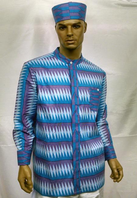 African-Blue-Nehru-Collar-S