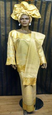 African-Cream-Gold-Dress