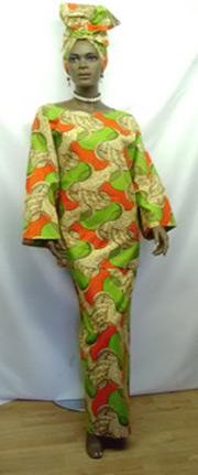 African-Orange-Green-Print-