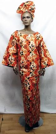 African-Orange-Print-Skirt-