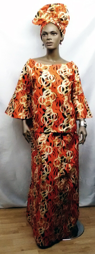 African-Orange-Six-Pleat-Sk