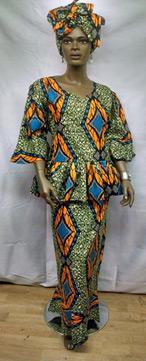 African-Teal-Peplum-Skirt-S