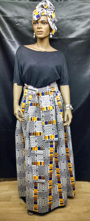 African-White-Kente-Skirt-S