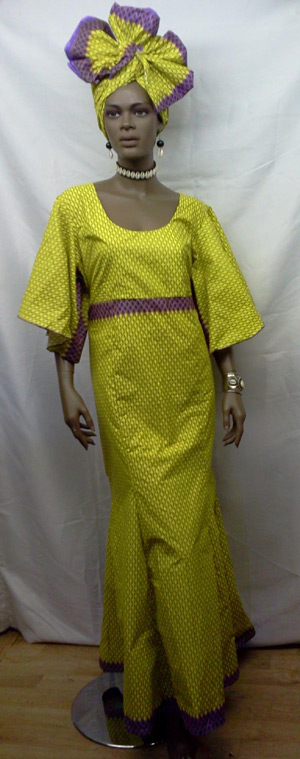 African-Yellow-Purple-Print