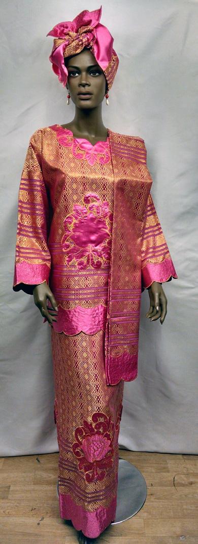 Africa fuchsia and Gold Dress