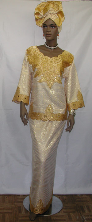 African Dress Embroidery Cream And Gold Dress