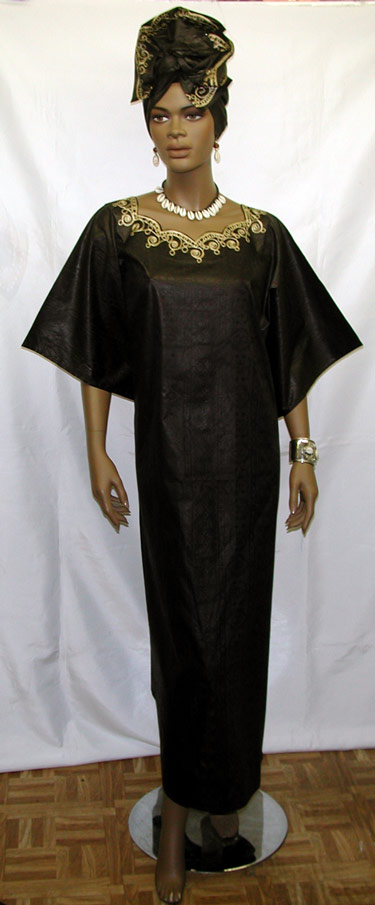 d2a3951edcb59 Afican Dress- Black and Gold Caftan w/Headwrap. `