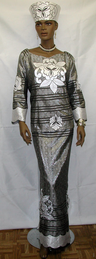 african dress black and silver dress