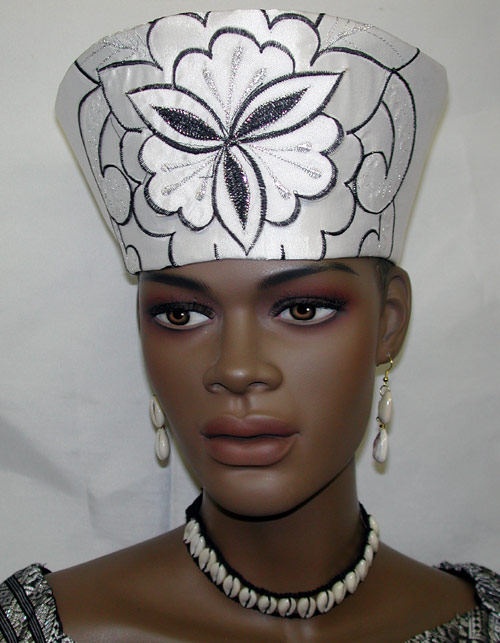 e5ca9caf783 African Hat- Women White and Black Open Crown. `