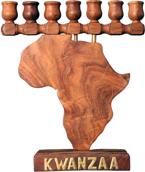 africa map kwanzaa kinara with candles cup