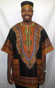 African Black Dashiki Shirt 1