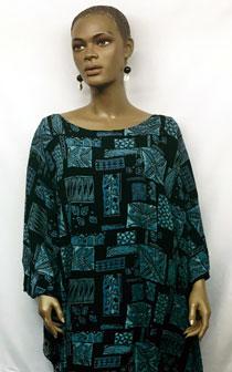 African-Black-Blue-Linen-Sh