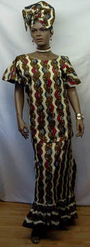 African-Brown-Red-Print-Set