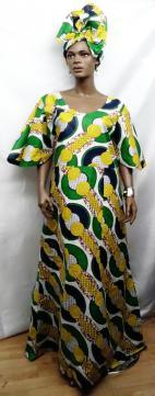 African-Yellow-Green-Dress