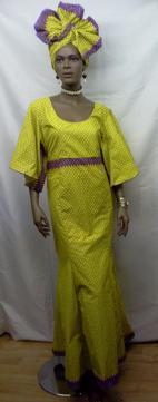 African-Yellow-Purple-Print