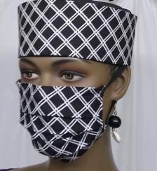 AfricanBlackWhiteStripeFaceMask