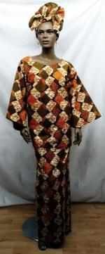 Brown-Orange-Diamond-Skirt-
