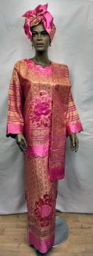Africa fuchsia and Gold Dress